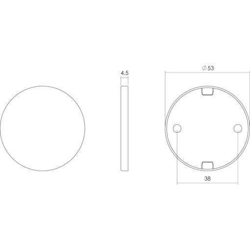 Intersteel Rozet plat verdekt INOX geborsteld - Technische tekening