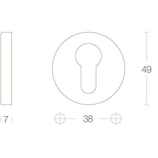 Intersteel Rozet profielcilindergat Koper ongelakt - Technische tekening