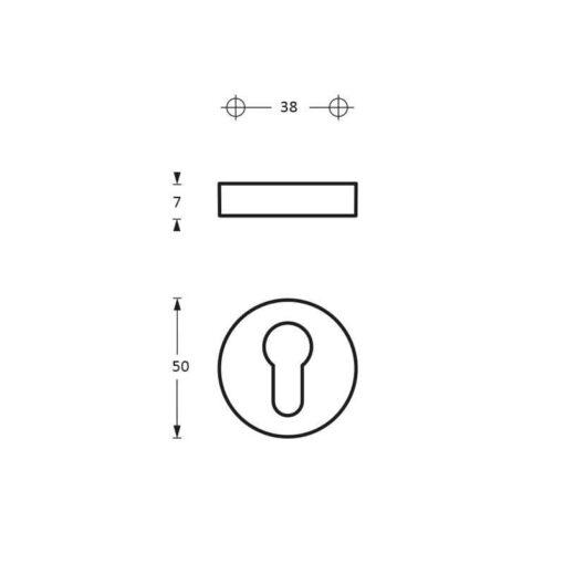 Intersteel Rozet profielcilindergat antraciet titaan PVD - Technische tekening