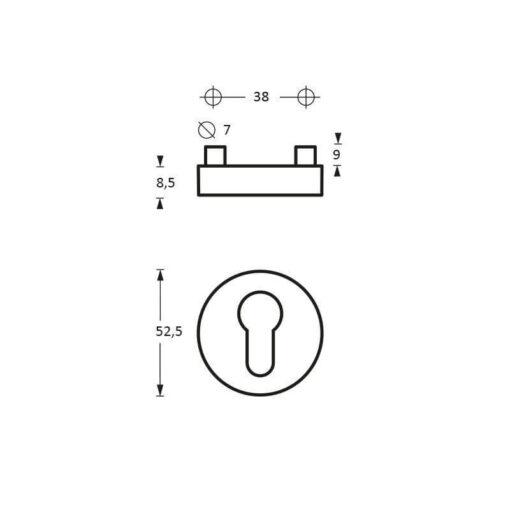 Intersteel Rozet profielcilindergat nobile INOX geborsteld - Technische tekening