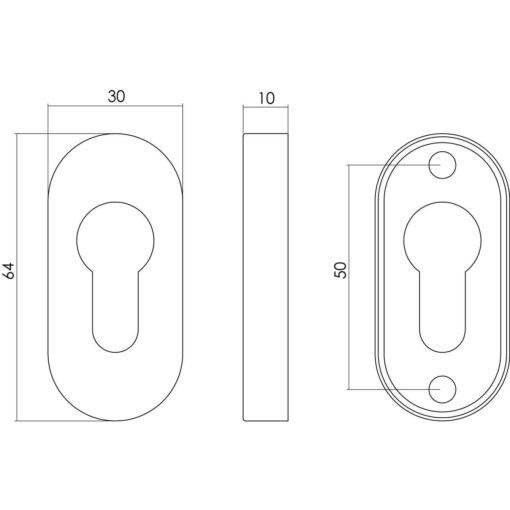 Intersteel Rozet profielcilindergat ovaal INOX geborsteld - Technische tekening