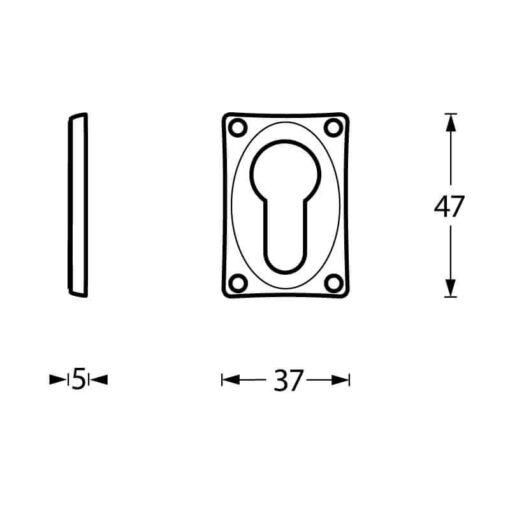 Intersteel Rozet profielcilindergat rechthoekig verlengd chroom - Technische tekening