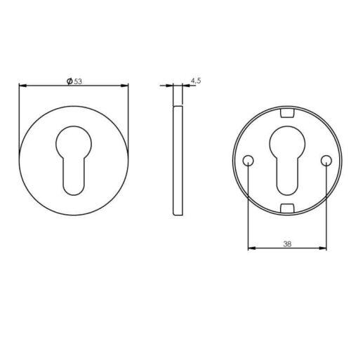 Intersteel Rozet profielcilindergat rond INOX geborsteld mat zwart - Technische tekening