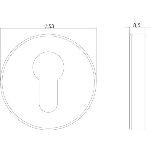 Intersteel Rozet profielcilindergat rond verdekt INOX geborsteld - Technische tekening