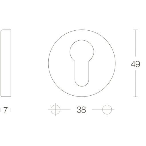 Intersteel Rozet profielcilindergat rond verdekt kunststof Koper gebruineerd - Technische tekening