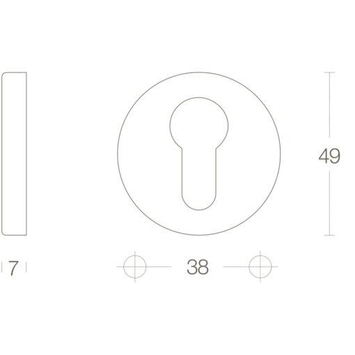 Intersteel Rozet profielcilindergat rond verdekt kunststof Koper gelakt - Technische tekening
