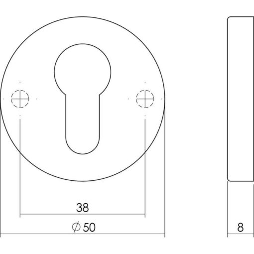 Intersteel Rozet profielcilindergat verdekt nikkel - Technische tekening