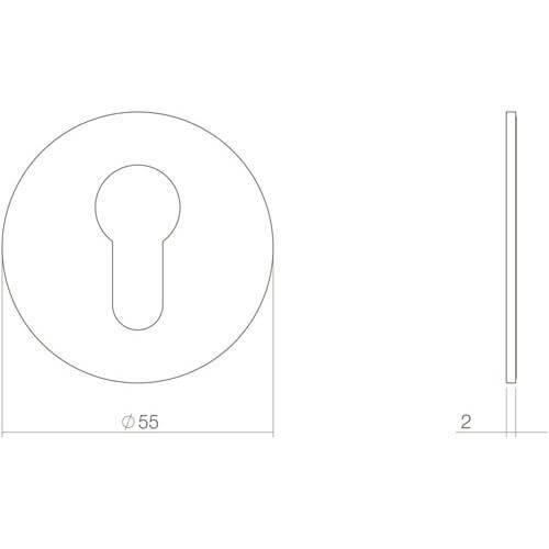 Intersteel Rozet profielcilindergat zelfklevend INOX geborsteld - Technische tekening