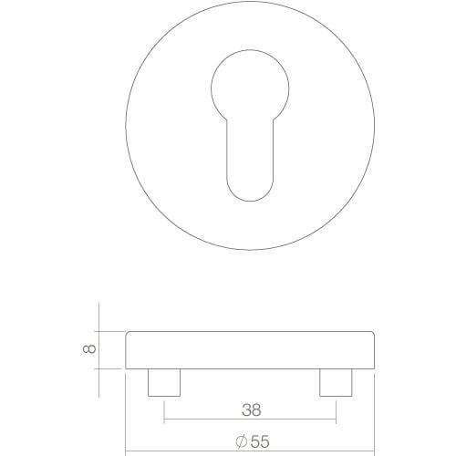 Intersteel Rozet rond 55 mm met profielcilindergat INOX geborsteld - Technische tekening