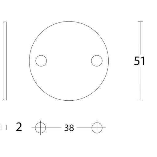 Intersteel Rozet rond plat 50 mm blind INOX geborsteld - Technische tekening
