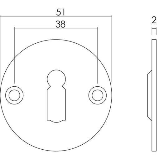 Intersteel Rozet rond plat 50 mm sleutelgat plat INOX geborsteld - Technische tekening