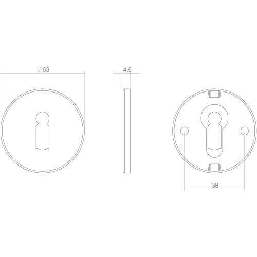 Intersteel Rozet rond plat verdekt met sleutelgat INOX gepolijst - Technische tekening