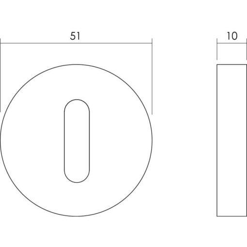 Intersteel Rozet set rond met sleutelgat INOX geborsteld - Technische tekening