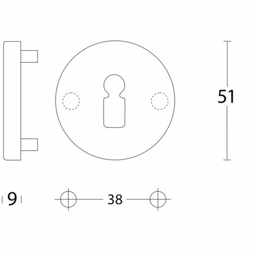 Intersteel Rozet sleutelgat aluminium - Technische tekening