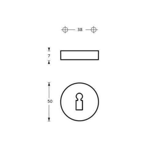 Intersteel Rozet sleutelgat antraciet titaan PVD - Technische tekening