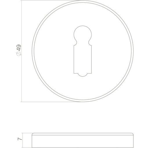 Intersteel Rozet sleutelgat oud grijs - Technische tekening