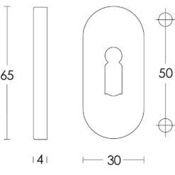 Intersteel Rozet sleutelgat ovaal verdekt INOX geborsteld 4 mm - Technische tekening