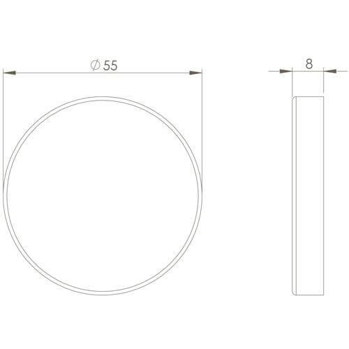 Intersteel Rozet sleutelgat rond INOX geborsteld - Technische tekening