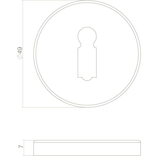 Intersteel Rozet sleutelgat rond Koper getrommeld - Technische tekening