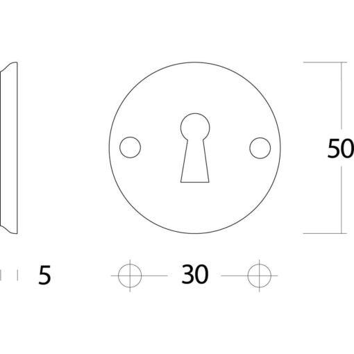 Intersteel Rozet sleutelgat rond schroefgat nikkel mat - Technische tekening
