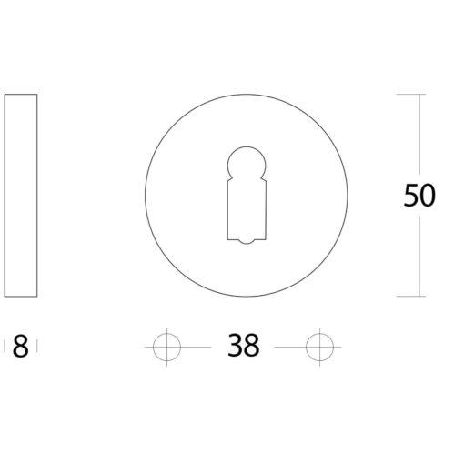 Intersteel Rozet sleutelgat rond verdekt Koper gebruineerd - Technische tekening