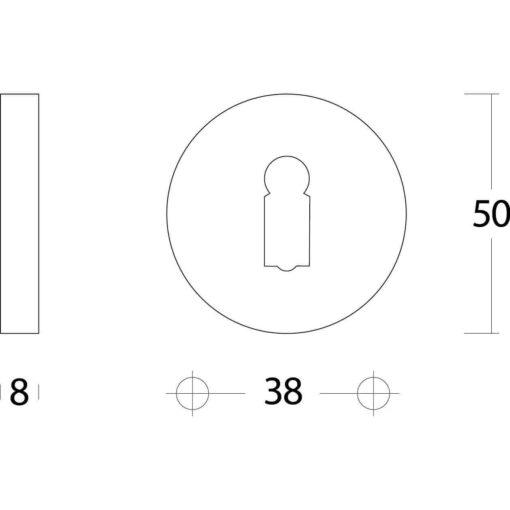 Intersteel Rozet sleutelgat rond verdekt chroom 50 mm - Technische tekening
