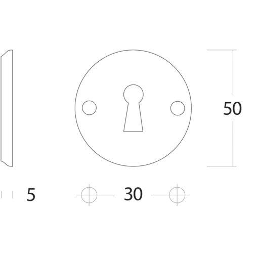 Intersteel Rozet sleutelgat schroefgat Koper gelakt - Technische tekening