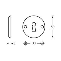 Intersteel Rozet sleutelgat schroefgat chroom - Technische tekening