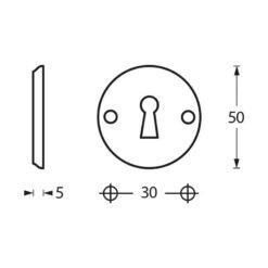 Intersteel Rozet sleutelgat schroefgat mat zwart - Technische tekening