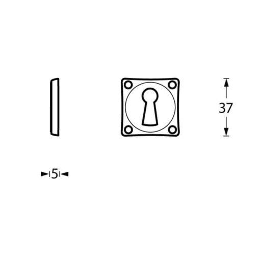 Intersteel Rozet sleutelgat schroefgat vierkant chroom mat - Technische tekening