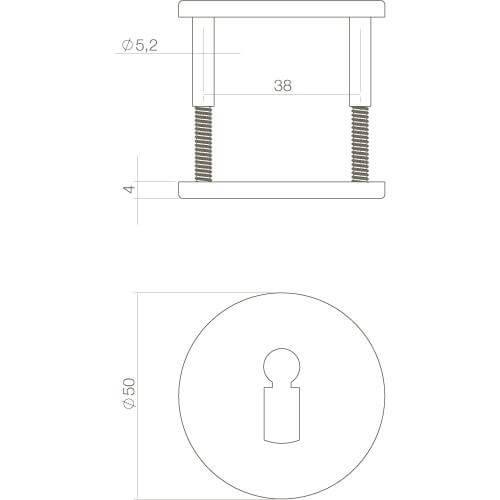 Intersteel Rozet sleutelgat verdekt INOX geborsteld - Technische tekening