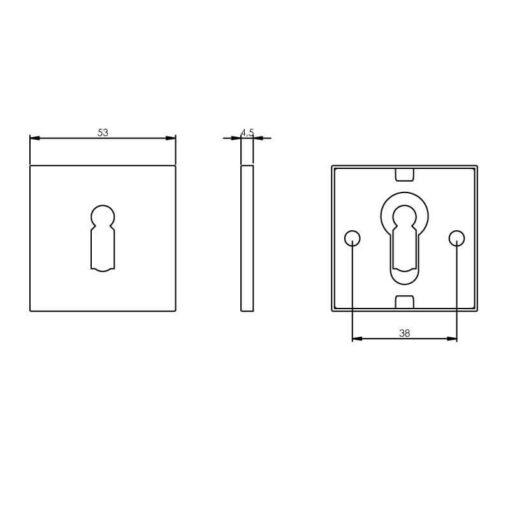 Intersteel Rozet sleutelgat vierkant INOX geborsteld mat zwart - Technische tekening
