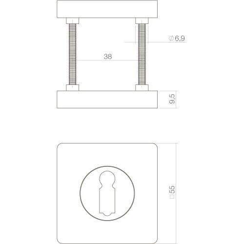 Intersteel Rozet sleutelgat vierkant mat zwart - Technische tekening