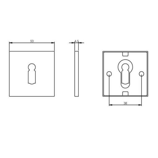 Intersteel Rozet sleutelgat vierkant plat INOX geborsteld - Technische tekening