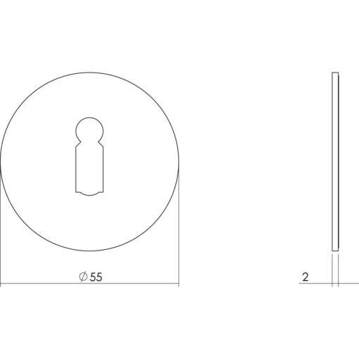 Intersteel Rozet sleutelgat zelfklevend INOX geborsteld - Technische tekening
