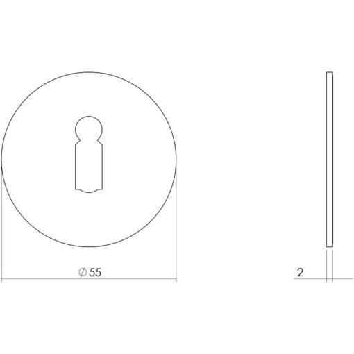 Intersteel Rozet sleutelgat zelfklevend mat zwart - Technische tekening