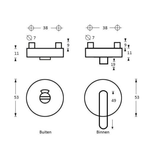 Intersteel Rozet toilet-/badkamersluiting Nobile rond INOX geborsteld 8 mm - Technische tekening