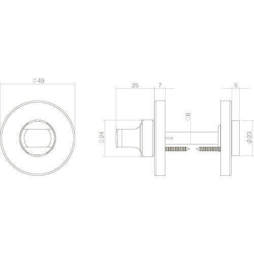 Intersteel Rozet toilet-/badkamersluiting chroom mat - Technische tekening