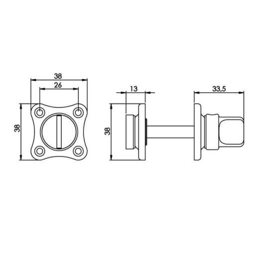 Intersteel Rozet toilet-/badkamersluiting klaverblad chroom - Technische tekening