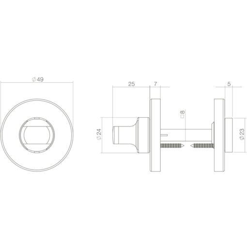 Intersteel Rozet toilet-/badkamersluiting oud grijs - Technische tekening