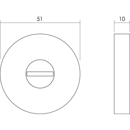 Intersteel Rozet toilet-/badkamersluiting rond INOX geborsteld - Technische tekening