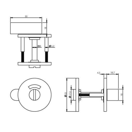 Intersteel Rozet toilet-/badkamersluiting rond INOX geborsteld mat zwart - Technische tekening