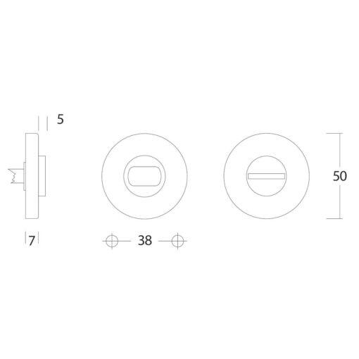 Intersteel Rozet toilet-/badkamersluiting rond Koper gelakt - Technische tekening