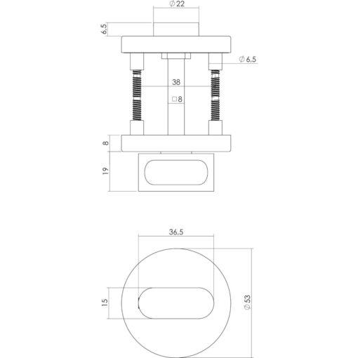 Intersteel Rozet toilet-/badkamersluiting rond nokken INOX geborsteld - Technische tekening