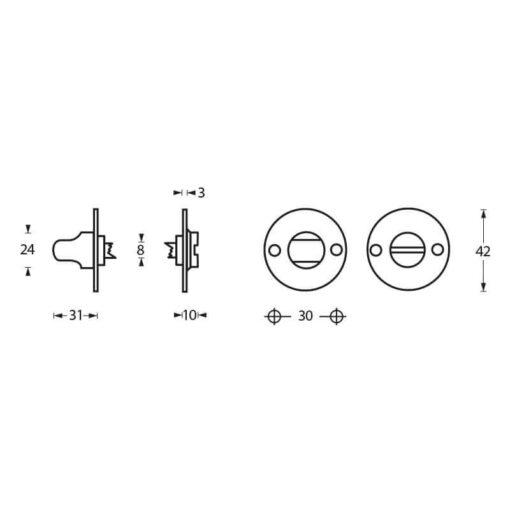 Intersteel Rozet toilet-/badkamersluiting rond plat chroom - Technische tekening
