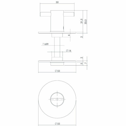 Intersteel Rozet toilet-/badkamersluiting rond plat zelfklevend 8 mm - Technische tekening