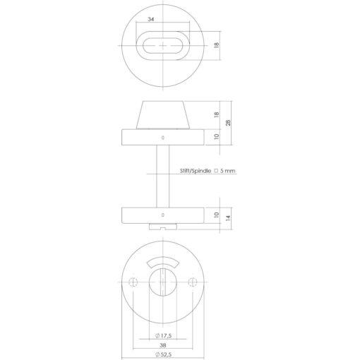 Intersteel Rozet toilet-/badkamersluiting rond verdekt INOX geborsteld 5 mm - Technische tekening