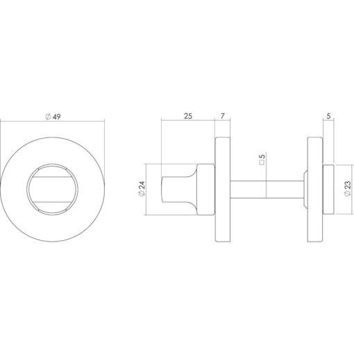 Intersteel Rozet toilet-/badkamersluiting rond verdekt kunststof chroom 5 mm - Technische tekening