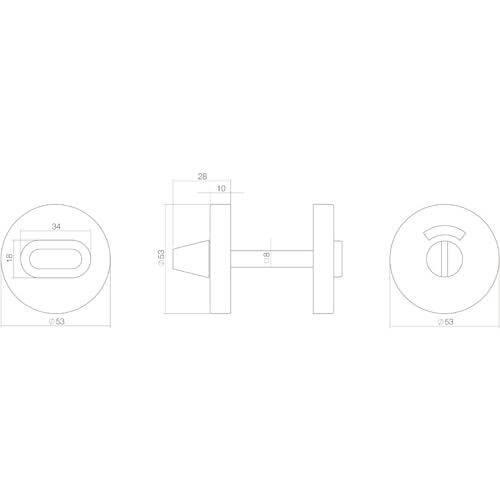 Intersteel Rozet toilet-/badkamersluiting rond verdekt metaal INOX mat zwart - Technische tekening