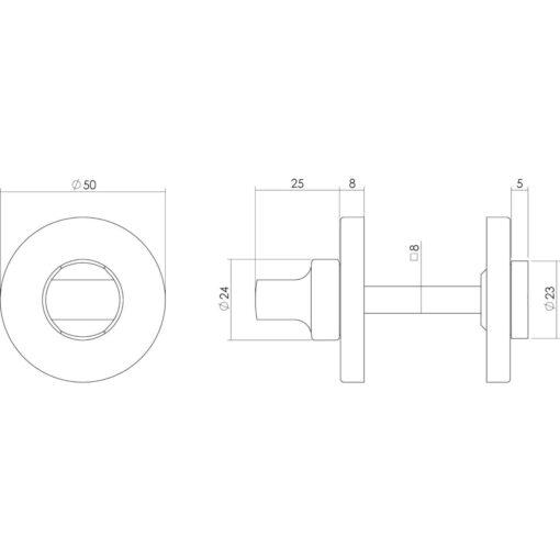 Intersteel Rozet toilet-/badkamersluiting rond verdekt nikkel mat - Technische tekening